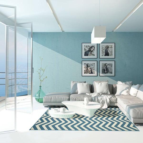 Covor foarte rezistent Floorita Waves, 160x230cm, albastru deschis