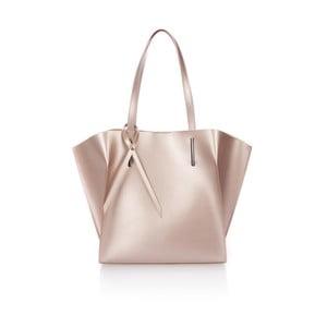Pudrově růžová kožená kabelka Giorgio Costa Mantina