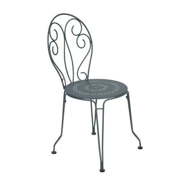 Tmavě šedá kovová židle Fermob Montmartre