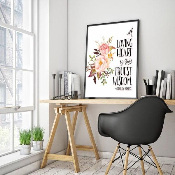 Plakát v dřevěném rámu Loving heart, 38x28 cm