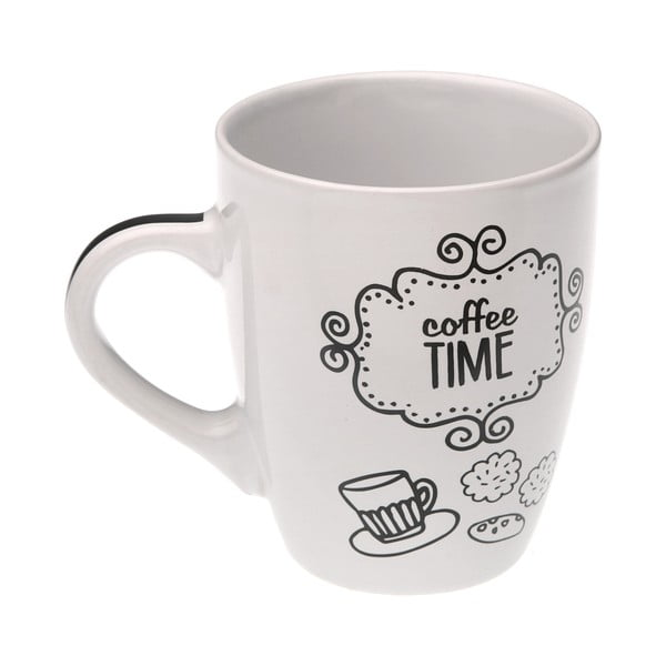 Cană din ceramică Versa Coffee Time, 350 ml, alb