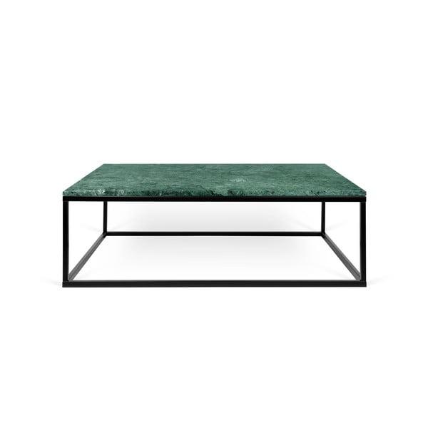 Zelený mramorový konferenční stolek s černými nohami TemaHome Prairie, 75 x 32 cm