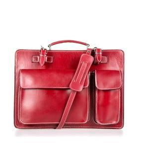 Červená kožená taška přes rameno Italia in Progress Maestro