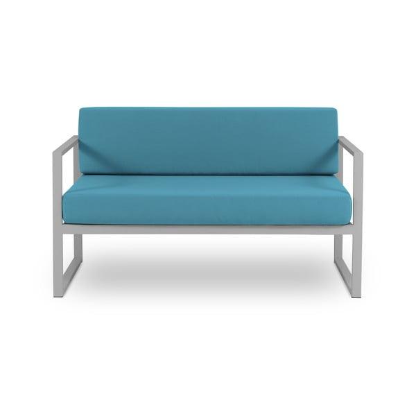 Canapea cu două locuri, adecvată pentru exterior Calme Jardin Nicea, albastru - gri