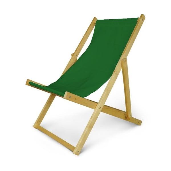 Dřevěné nastavitelné lehátko JustRest, lahvově zelené