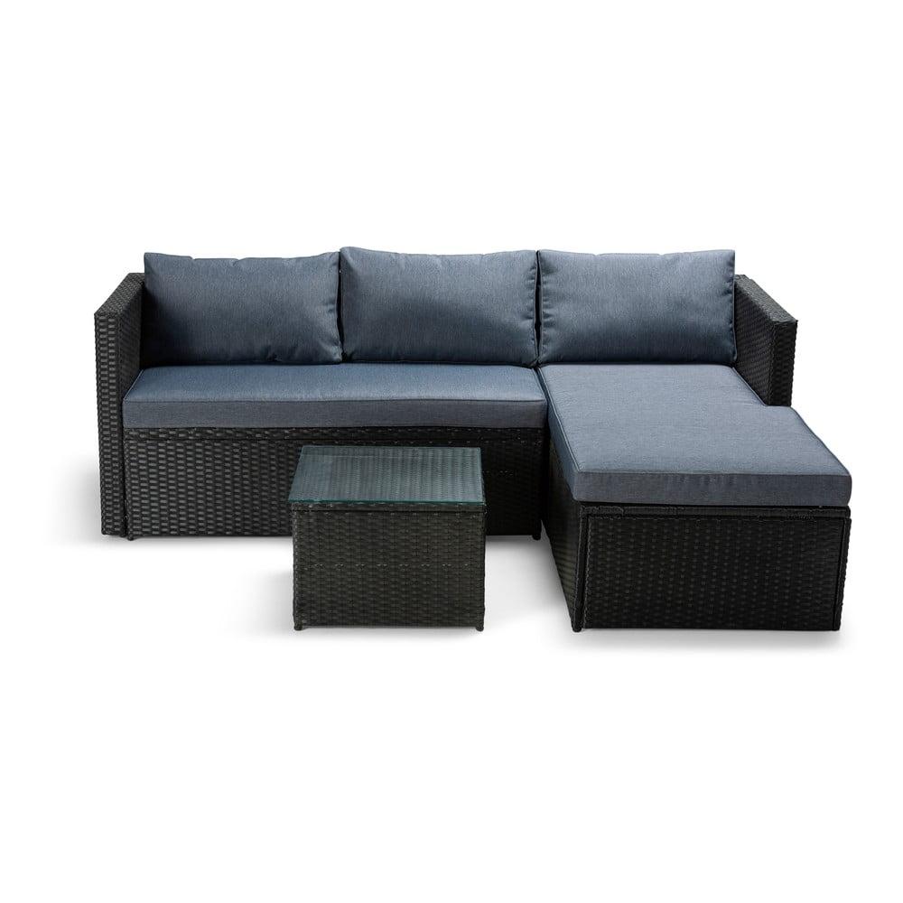 Set antracitově šedého zahradního nábytku z umělého ratanu Le Bonom Mutio
