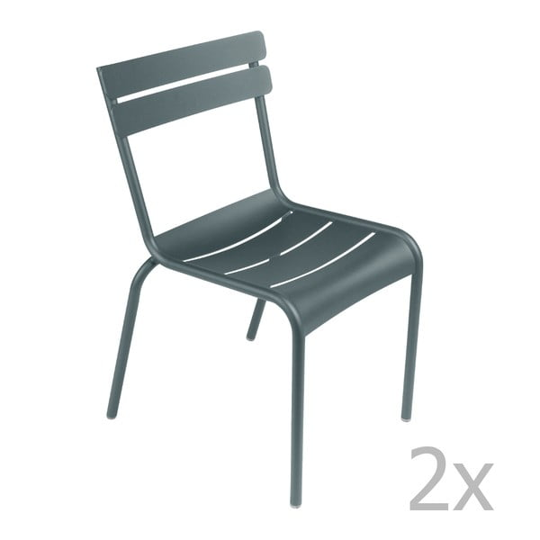Sada 2 tmavě šedých židlí Fermob Luxembourg