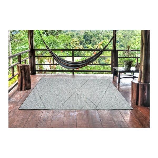 Modrošedý koberec vhodný i na ven Weave Mujro, 77 x 150 cm