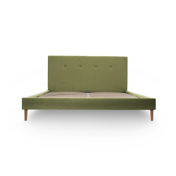 Zelená postel s přírodními nohami Vivonita Kent,180x200cm
