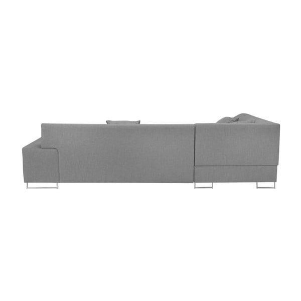 Světle šedá rohová rozkládací pohovka s nohami ve stříbrné barvě Cosmopolitan Design Orlando, pravý roh