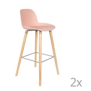 Sada 2 růžových barových židlí Zuiver Albert Kuip, výška sedu 75cm