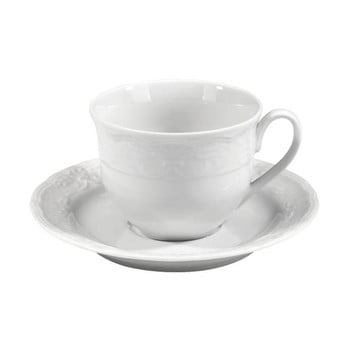 Set 6 cești cu farfurie din porțelan alb Kutahya Concept