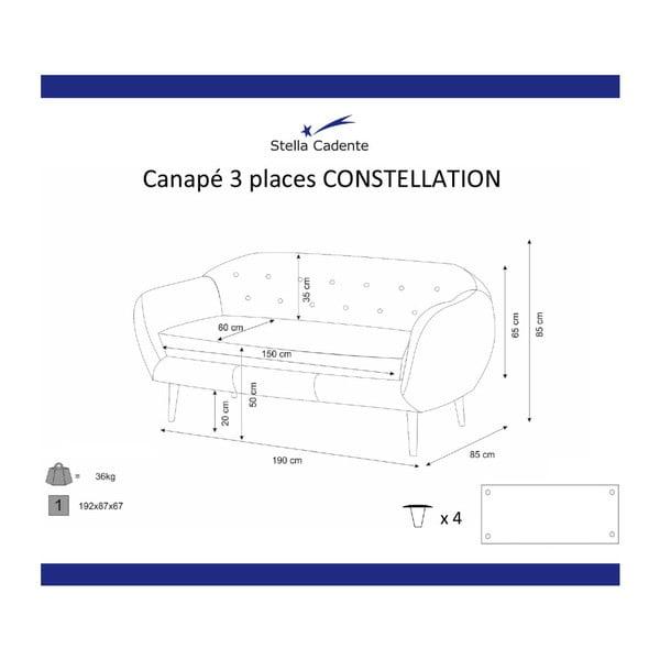 Canapea cu 3 locuri Scandi by Stella Cadente Maison Constellation, mov