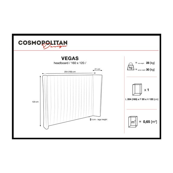 Pastelově modré čelo postele Cosmopolitan design Vegas, 160x120cm