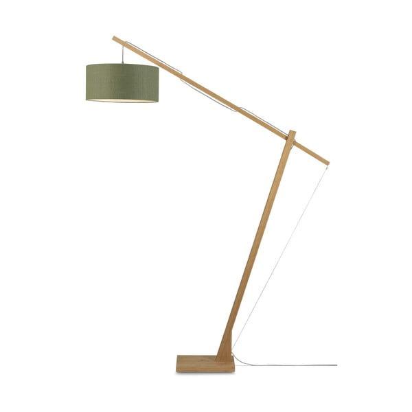 Stojacia lampa s tmavozeleným tienidlom a konštrukciou z bambusu Good&Mojo Montblanc