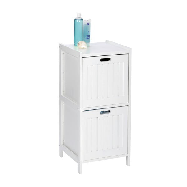 Bílá dřevěná skříňka do koupelny se2šuplíky Wenko Oslo
