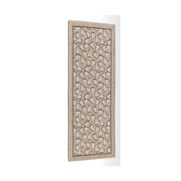 Béžový vysokoodolný kuchynský koberec Webtapetti Corazon Tortora, 55×190cm