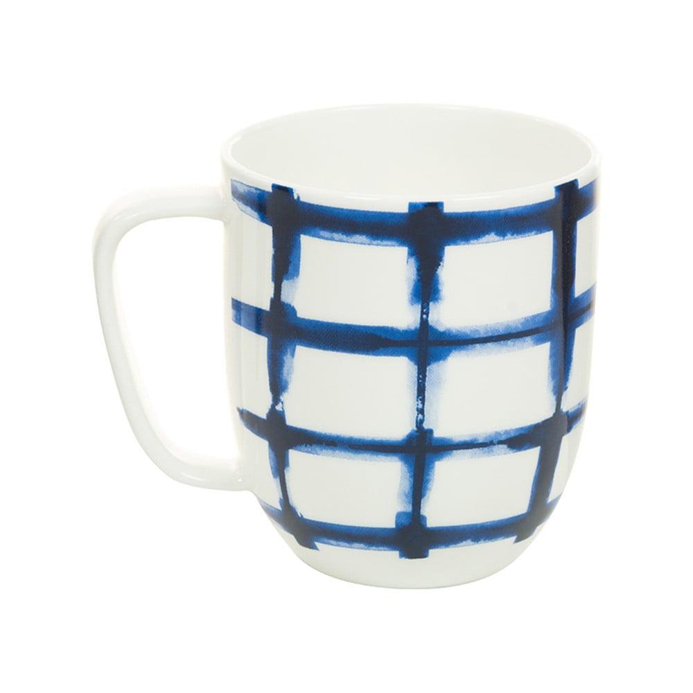 Modrobílý porcelánový hrneček Santiago Pons Grid, 380 ml