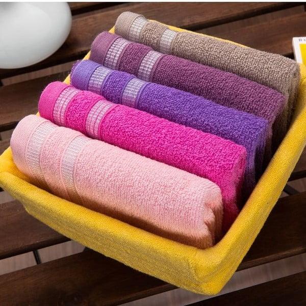 Sada 5 ručníků Yellow Basket, 30x50 cm