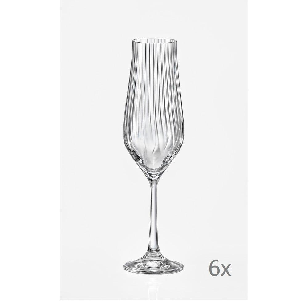 Sada 6 sklenic na šampaňské Crystalex Tulipa Optic, 170 ml
