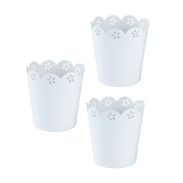 Set 3 květináčů, bílý
