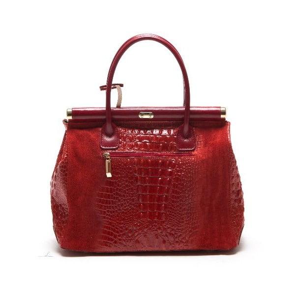 Kožená kabelka Anna Luchini 825 Rosso