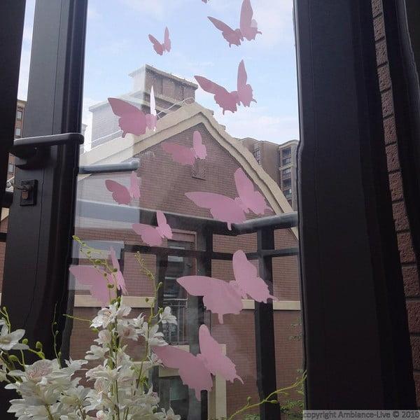 Sada 12 růžových 3D samolepek Ambiance Butterflies