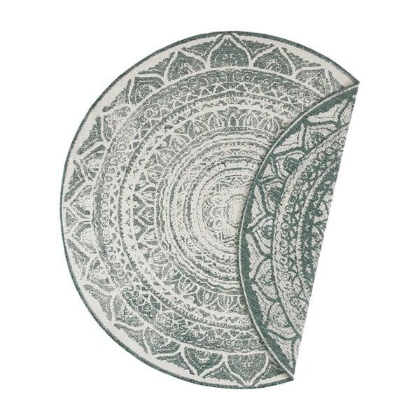 Zeleno-krémový venkovní koberec Bougari Siruma, ø 200 cm