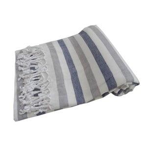 Prosop țesut manual din bumbac premium Afrika, 100 x 80 cm, albastru - gri