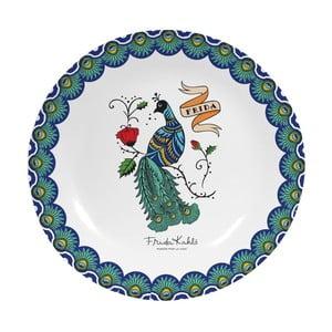 Nástěnný dekorativní keramický talíř Frida Kahlo Peacock