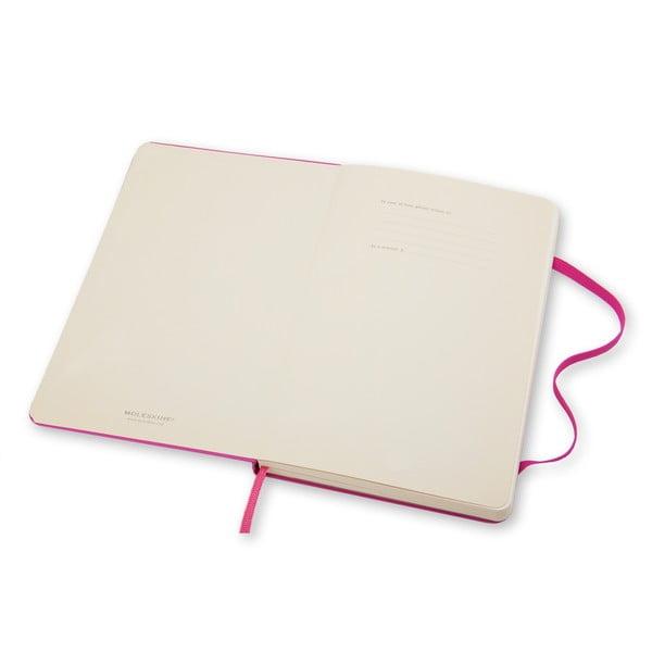 Zápisník Moleskine Hard 13x21 cm, růžový + čisté stránky