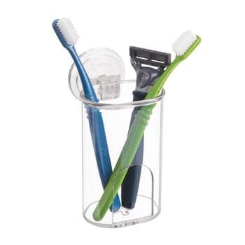 Suport transparent cu ventuză pentru periuțele de dinți iDesign Power Lock de la iDesign