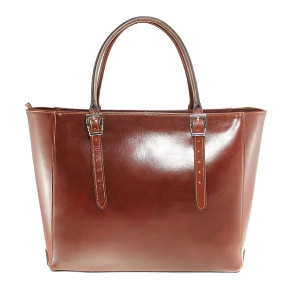 Hnedá kožená kabelka Chicca Borse Tami