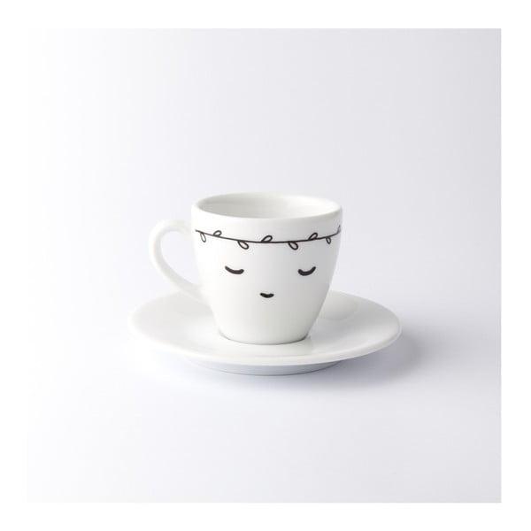 Hrnek na espresso s podšálkem Sleeping with White Leaves, 100 ml