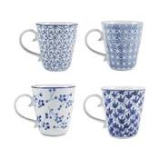 Sada 4 porcelánových hrnků Blue