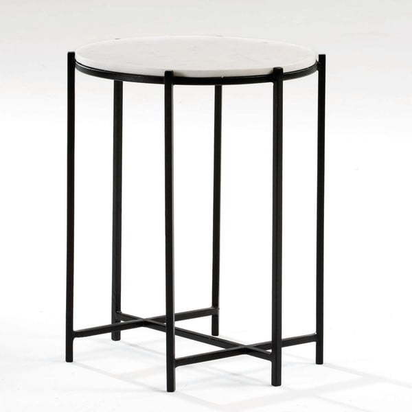 Odkládací stolek s mramorovou deskou a černými nohami Thai Natura, ∅43cm
