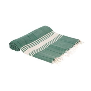 Zelená ručně tkaná osuška Ivy's Esin, 100x180cm