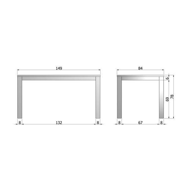Dřevěný jídelní stůl Largo Black Night,150x85 cm