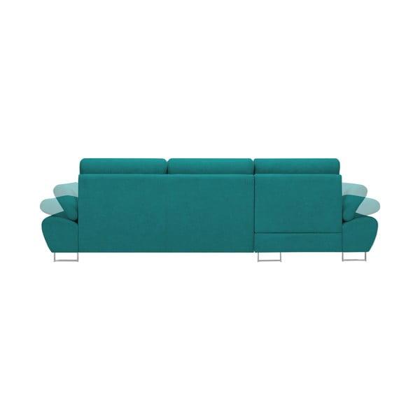 Tyrkysová rozkládací rohová pohovka Windsor & Co Sofas Pi, levý roh