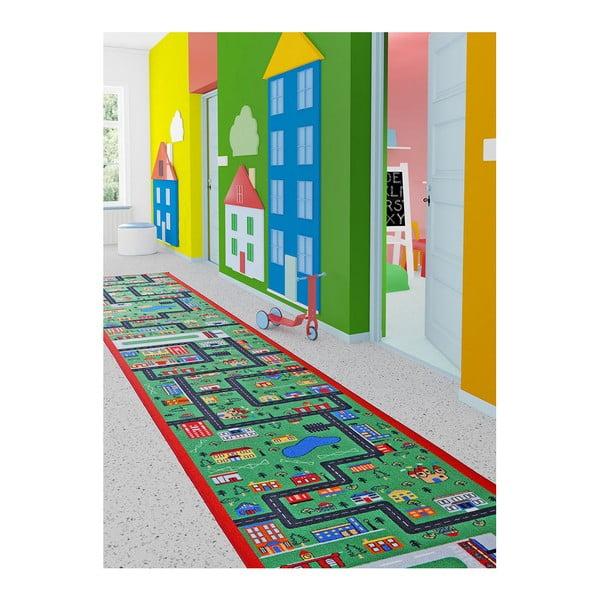 Zelený dětský běhoun City, 100 x 450 cm