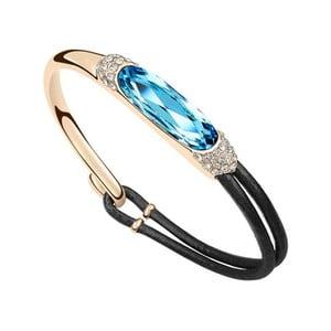 Pozlacený náramek s modrým krystalem Swarovski a koženým páskem Adea