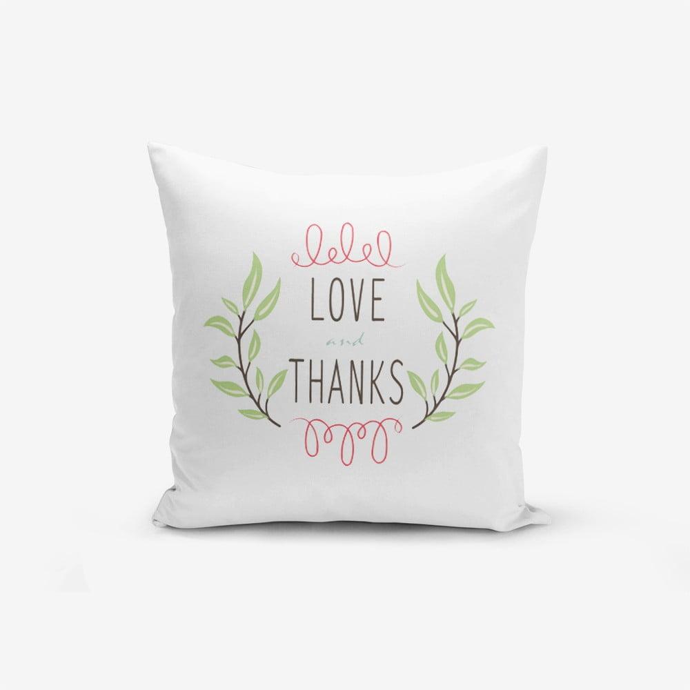 Povlak na polštář s příměsí bavlny Minimalist Cushion Covers Thanks, 45 x 45 cm