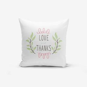 Povlak na polštář s příměsí bavlny Minimalist Cushion Covers Thanks,45x45cm