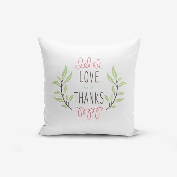 Poszewka na poduszkę z domieszką bawełny Minimalist Cushion Covers Thanks, 45x45 cm
