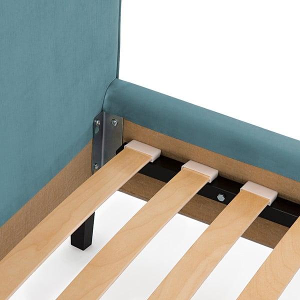 Tyrkysová postel s přírodními nohami Vivonita Kent,140x200cm