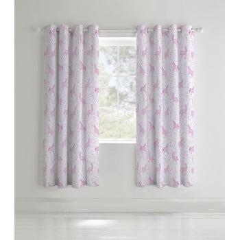 Set 2 draperii pentru camera copiilor Catherine Lansfield Unicorn, 168 x 183 cm roz imagine