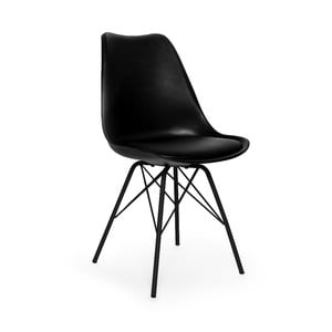 Scaun cu picioare negre din metal loomi.design Eco, negru