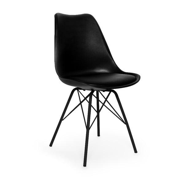 Sada 2 čiernych stoličiek s čiernym podnožím z kovu loomi.design Eco