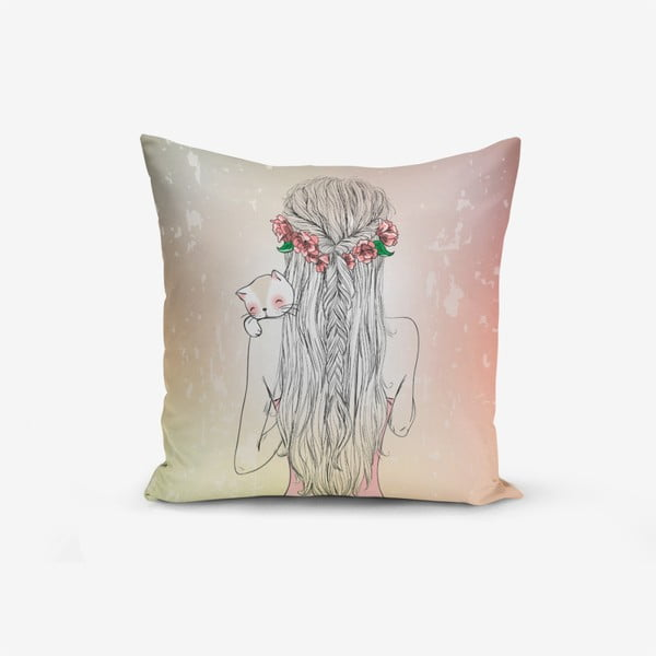 Obliečky na vaknúš s prímesou bavlny Minimalist Cushion Covers Girl and Cat, 45 × 45 cm