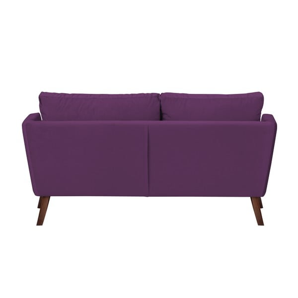 Tmavě fialová třímístná pohovka Mazzini Sofas Elena, slenoškou na pravém rohu